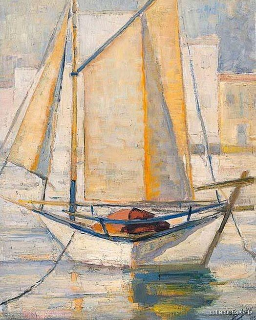 Boat with sails by Periklis Vyzantios (1893-1972, Greece)