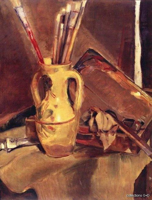 Still life with brushes by Periklis Vyzantios (1893-1972, Greece)