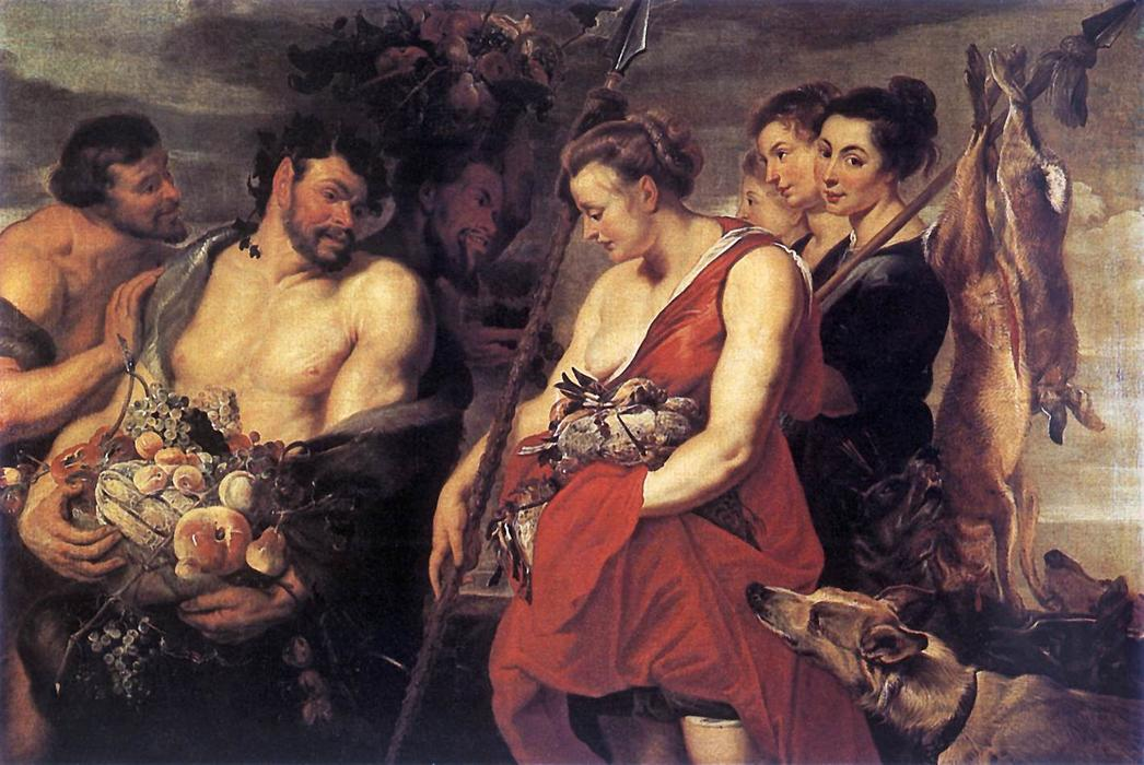 Diana Presentig the Catch to Pan, 1615 by Peter Paul Rubens (1577-1640, Germany) | Museum Quality Copies Peter Paul Rubens | WahooArt.com