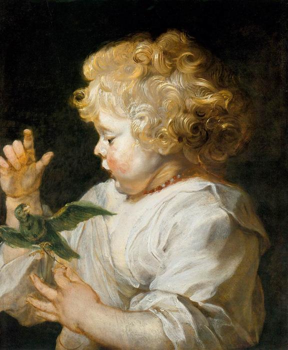 Boy with Bird, Oil On Panel by Peter Paul Rubens (1577-1640, Germany)