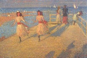 Philip Wilson Steer - Girls Running, Walberswick Pier