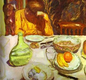 Pierre Bonnard - Carafe, Marthe Bonnard with Her Dog