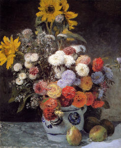Pierre-Auguste Renoir - Mixed Flowers In An Earthware Pot