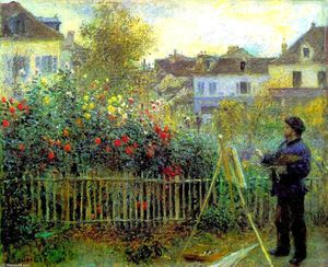 Pierre-Auguste Renoir - Monet painting in his garden at Argenteuil