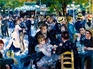 Pierre-Auguste Renoir - Dance at Moulin de la Galette - (Famous paintings reproduction)