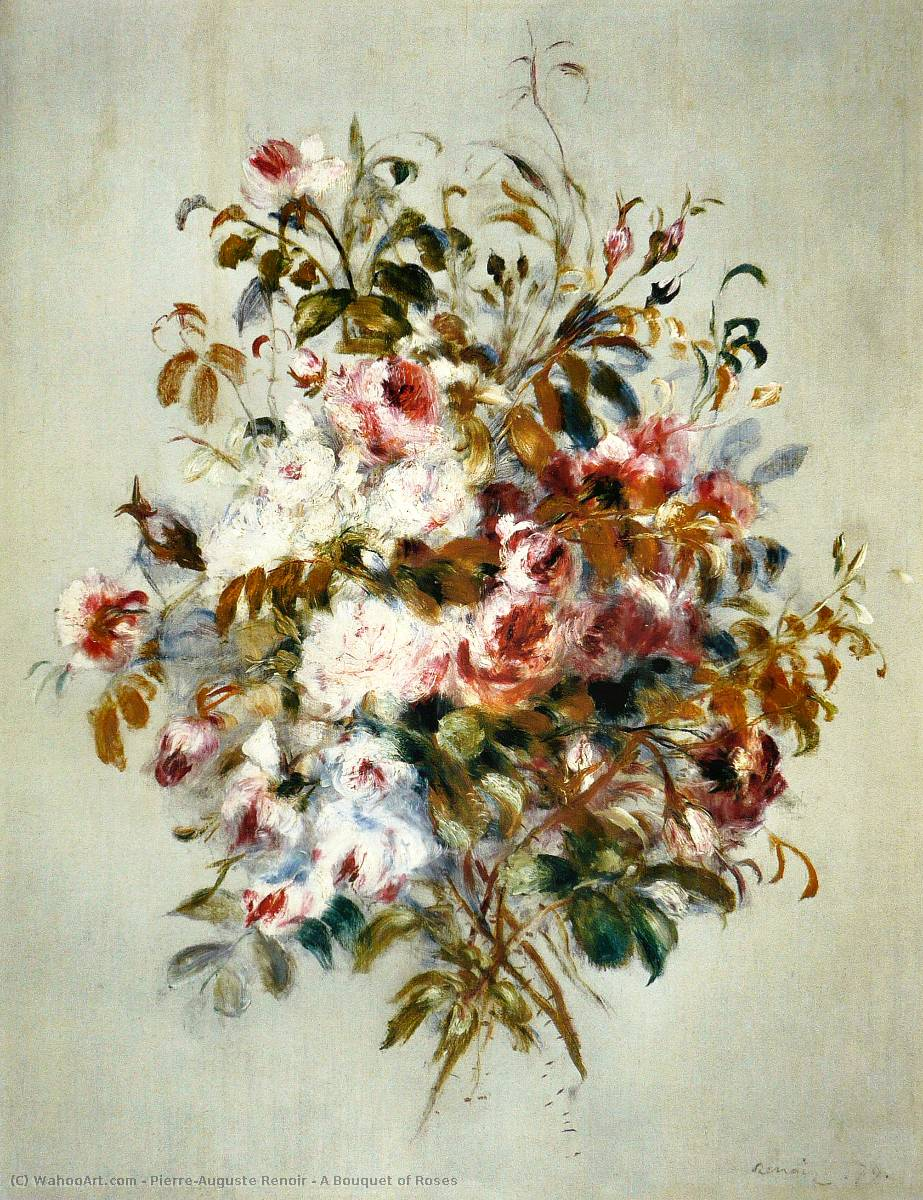A Bouquet of Roses, Oil On Canvas by Pierre-Auguste Renoir (1841-1919, France)