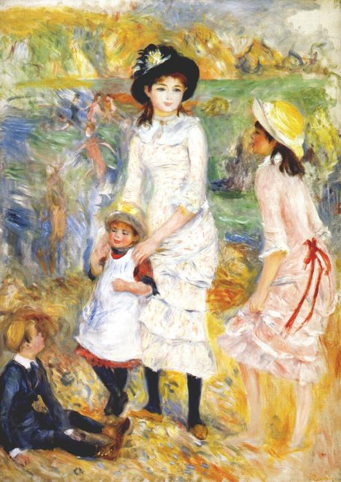 Order Art Reproductions | Children on the seashore, 1883 by Pierre-Auguste Renoir (1841-1919, France) | WahooArt.com