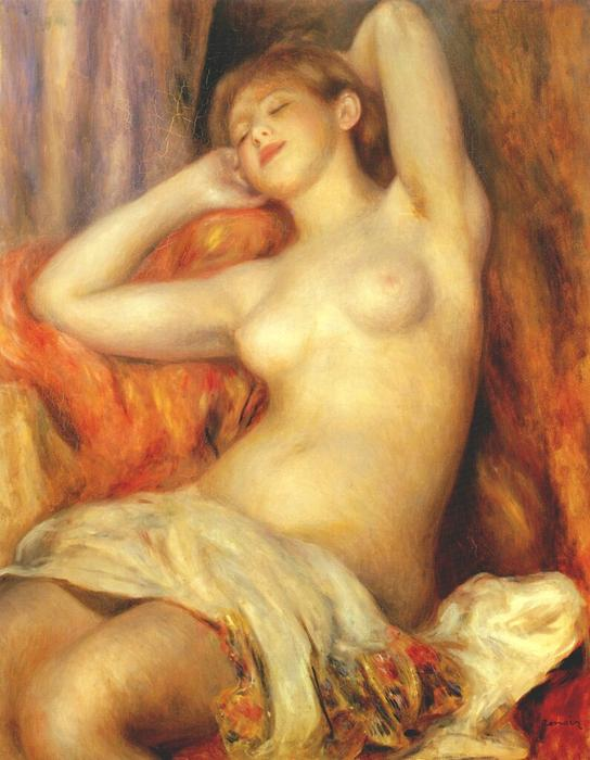 Sleeping woman, 1897 by Pierre-Auguste Renoir (1841-1919, France) | Museum Quality Reproductions | WahooArt.com