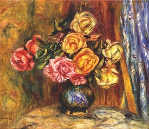 Pierre-Auguste Renoir - Roses in front of a blue curtain