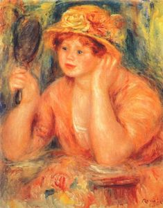 Pierre-Auguste Renoir - Girl looking into a mirror
