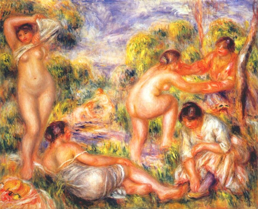 Bathers, 1916 by Pierre-Auguste Renoir (1841-1919, France) | Oil Painting | WahooArt.com