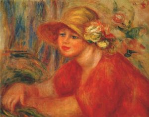 Pierre-Auguste Renoir - Woman in a hat with flowers