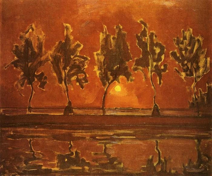 Order Art Reproductions | Trees by the Gein at Moonrise, 1908 by Piet Mondrian (1872-1944, Netherlands) | WahooArt.com
