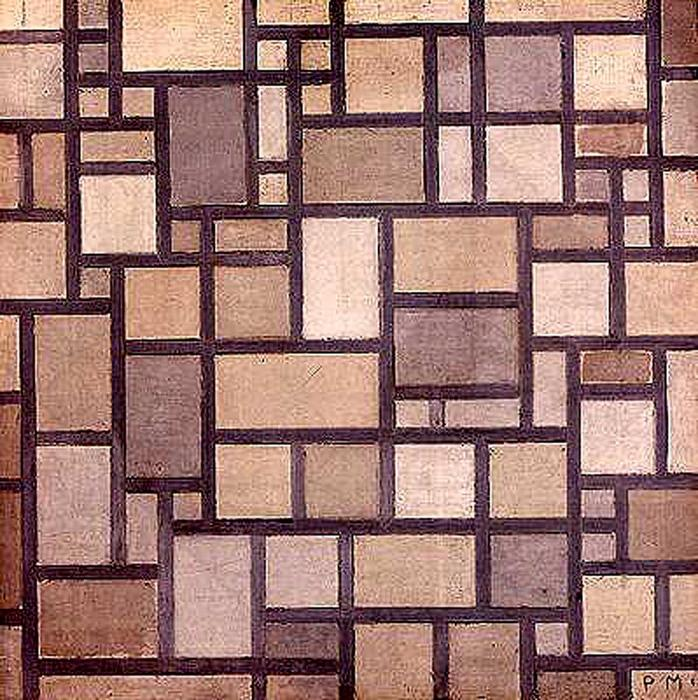 Composition: Light Color Planes with Grey Contours, 1919 by Piet Mondrian (1872-1944, Netherlands) | Paintings Reproductions Piet Mondrian | WahooArt.com