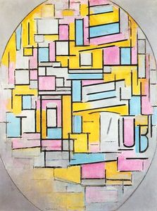Piet Mondrian - Composition with Oval in Color Planes II
