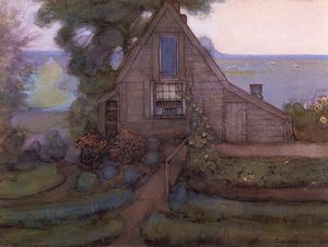 Piet Mondrian - Triangulated Farmhouse Facade with Polder in Blue