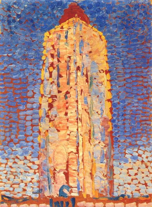 Lighthouse in Westkapelle, 1909 by Piet Mondrian (1872-1944, Netherlands) | Famous Paintings Reproductions | WahooArt.com