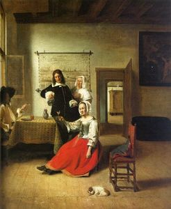 Pieter De Hooch - Woman drinking with soldiers