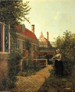 Pieter De Hooch - Woman with basket of beans in the kitchen garden