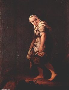 Pietro Longhi - A Shepherd girl with a basket