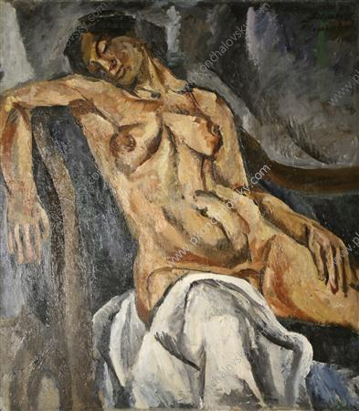 Sleeping woman, 1917 by Pyotr Konchalovsky (1876-1956, Russia) | Museum Quality Reproductions | WahooArt.com