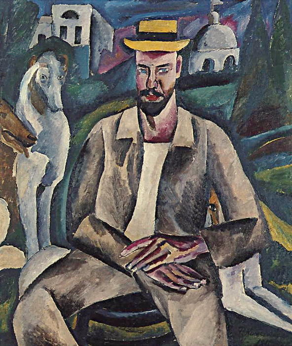Portrait of the Artist Vladimir Rozhdestvensky, 1912 by Pyotr Konchalovsky (1876-1956, Russia) | Famous Paintings Reproductions | WahooArt.com