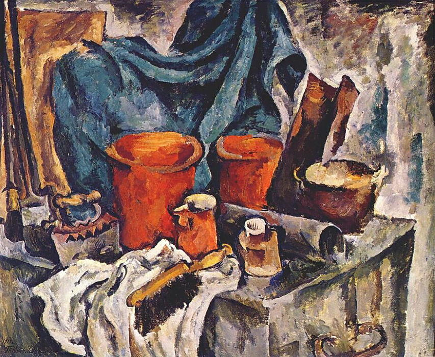Chest and pottery, 1919 by Pyotr Konchalovsky (1876-1956, Russia)