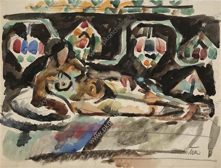 The Model on the carpet, Watercolour by Pyotr Konchalovsky (1876-1956, Russia)