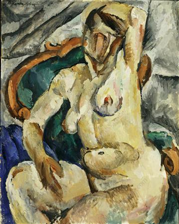 The Model in a chair, 1918 by Pyotr Konchalovsky (1876-1956, Russia)