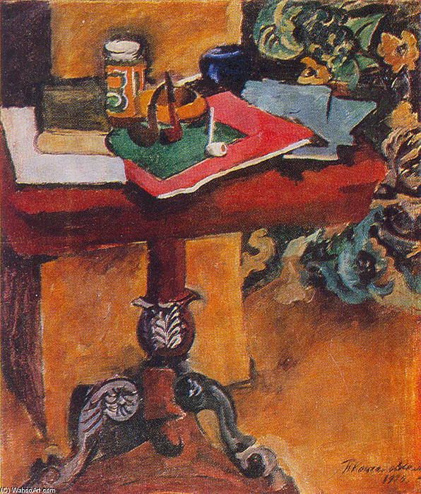 Still Life. Table, books, and the pipes., 1929 by Pyotr Konchalovsky (1876-1956, Russia) | Museum Quality Reproductions | WahooArt.com