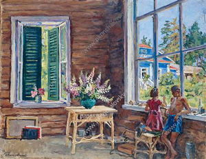 Order Art Reproduction : Children in the studio, 1947 by Pyotr Konchalovsky (1876-1956, Russia) | WahooArt.com