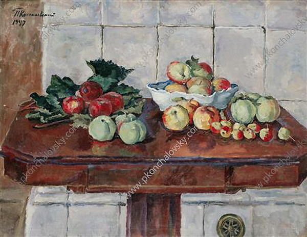 Still Life. Apples on a table near the stove., 1947 by Pyotr Konchalovsky (1876-1956, Russia) | Museum Quality Reproductions | WahooArt.com