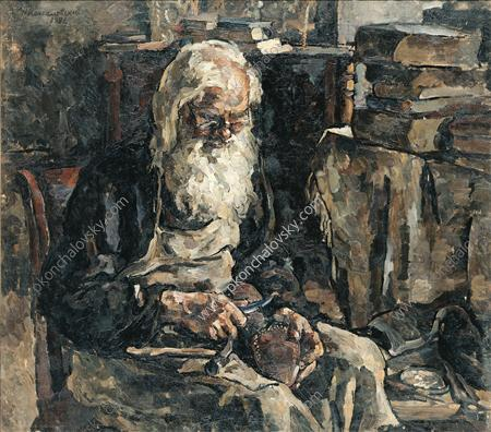 Vissarion a shoemaker at work, 1926 by Pyotr Konchalovsky (1876-1956, Russia)