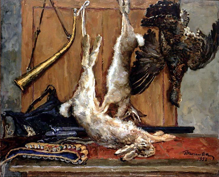 Still Life. Hares and grouse., 1951 by Pyotr Konchalovsky (1876-1956, Russia)