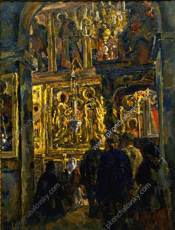 The service in St. Sophia Cathedral, 1928 by Pyotr Konchalovsky (1876-1956, Russia)