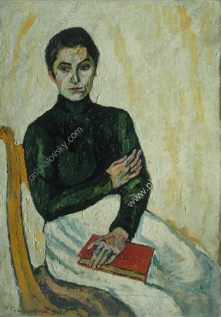 Pasha with the red book (on white), 1909 by Pyotr Konchalovsky (1876-1956, Russia)