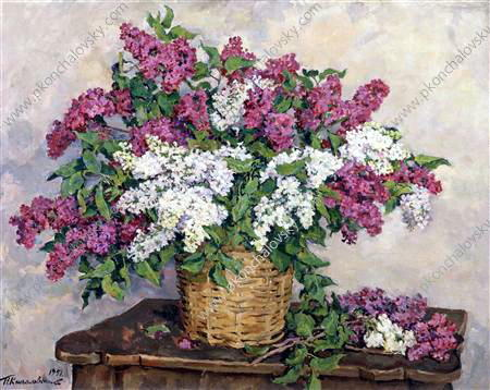 Still Life. White and red lilac., 1951 by Pyotr Konchalovsky (1876-1956, Russia)