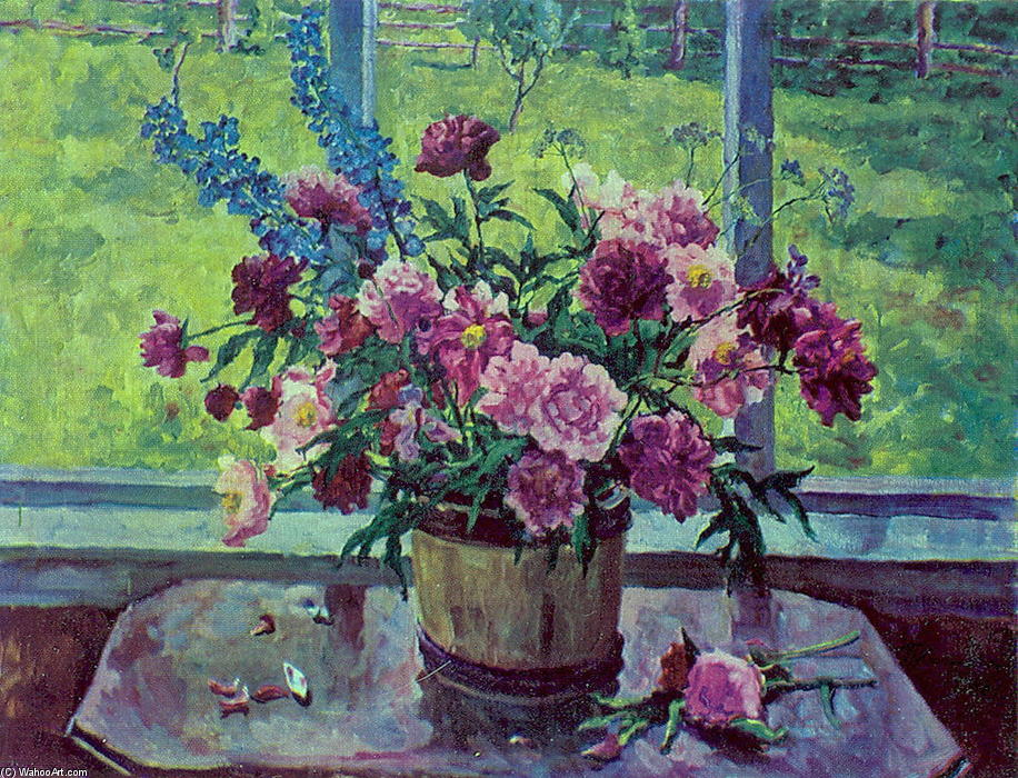 Still Life. Peonies at the window., 1948 by Pyotr Konchalovsky (1876-1956, Russia)