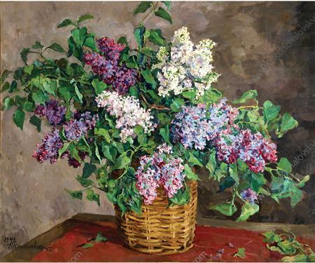 Still Life. Lilacs in a basket., 1944 by Pyotr Konchalovsky (1876-1956, Russia) | Museum Quality Reproductions | WahooArt.com