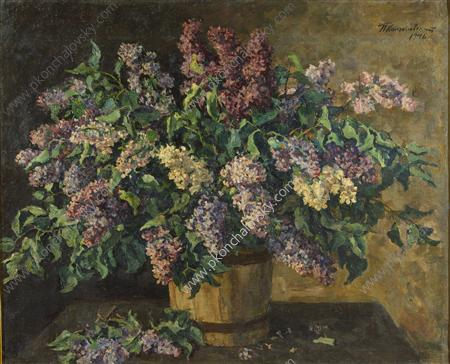 Still Life. Lilacs in the tub., 1946 by Pyotr Konchalovsky (1876-1956, Russia)