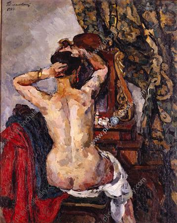 The woman in front of a mirror, 1923 by Pyotr Konchalovsky (1876-1956, Russia) | Painting Copy | WahooArt.com