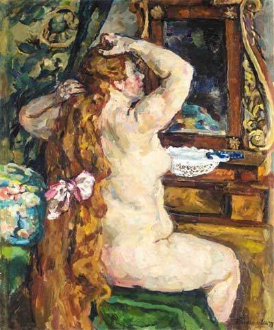 Model with red hair by the mirror, 1928 by Pyotr Konchalovsky (1876-1956, Russia) | Art Reproduction | WahooArt.com