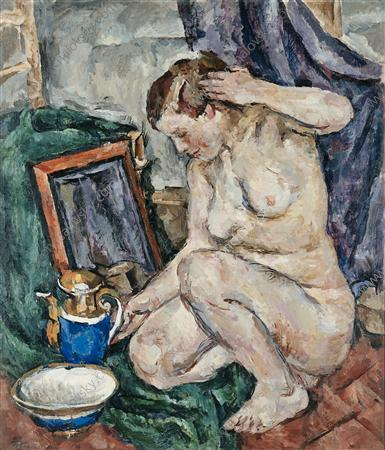 The Model squatting, 1919 by Pyotr Konchalovsky (1876-1956, Russia) | Museum Quality Reproductions | WahooArt.com