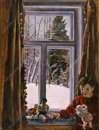 Katya with a doll by the window, 1936 by Pyotr Konchalovsky (1876-1956, Russia)