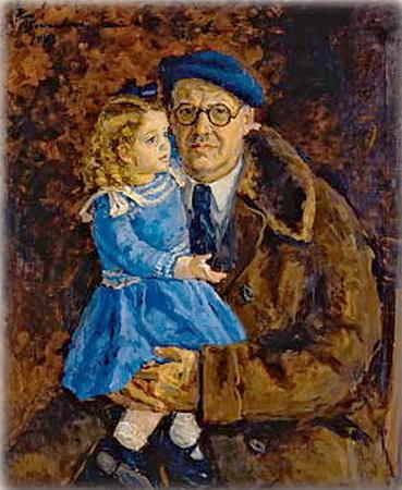 Self-portrait with his granddaughter, 1943 by Pyotr Konchalovsky (1876-1956, Russia)