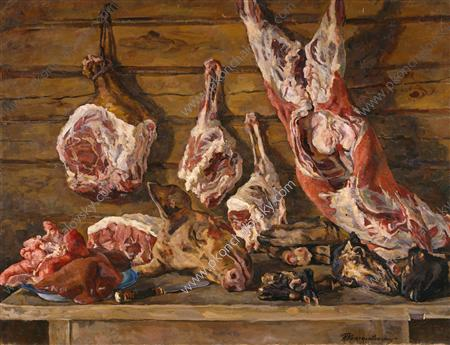 Still Life. The meat., 1936 by Pyotr Konchalovsky (1876-1956, Russia) | Famous Paintings Reproductions | WahooArt.com
