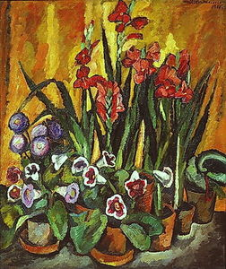Order Hand Made Painting Still life with red gladioli, 1915 by Pyotr Konchalovsky (1876-1956, Russia) | WahooArt.com | Order Painting Reproduction Still life with red gladioli, 1915 by Pyotr Konchalovsky (1876-1956, Russia) | WahooArt.com