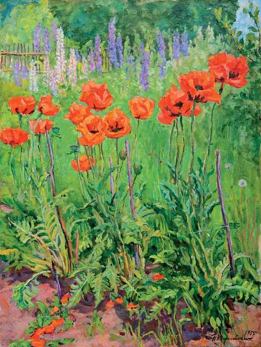 Poppies, 1955 by Pyotr Konchalovsky (1876-1956, Russia)