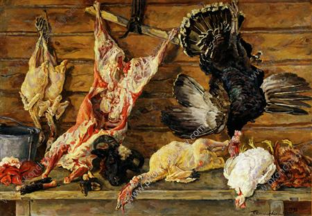 Still Life. Meat and poultry., 1936 by Pyotr Konchalovsky (1876-1956, Russia)