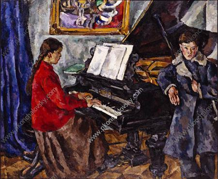 Children at the piano, 1919 by Pyotr Konchalovsky (1876-1956, Russia) | Museum Quality Reproductions | WahooArt.com